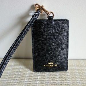 COACH Black Gold Leather Lanyard Badge ID Holder